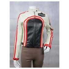 Ladies Black White Napa Leather Slim Tight Fitted Short Biker Race Jacket Bike