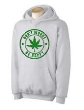 DONT WORRY BE HAPPY HOODIE - Reggae Bob Marley Cannabis Marijuana Weedleaf
