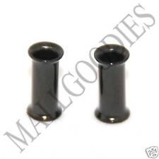 0220 Black Double Flare Flesh Tunnels Earlets Saddle Gauges 6G Plugs 4mm PAIR