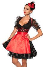 Vierteiliges Dirndl-Kostüm aus Satin Oktoberfest Wiesn schwarz/rot 12600