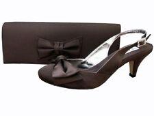 Ladies Wedding Party Low Heel Shoe Evening Shoes Diamante Chocolate Brown Satin