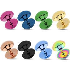 Pendientes Dome FAKE de enchufe Piercing acero inoxidable Rosa Oro Negro
