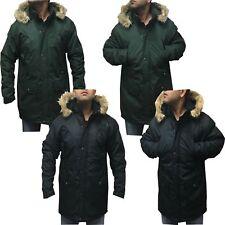 Mens New Faux Fur Hooded Hoodie Padded Fleece Lined Waterproof Parka Jacket Coat