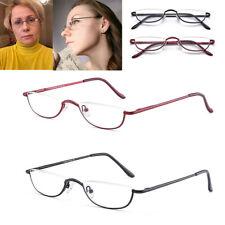 Vintage Reading Glasses Men Women Spring Hinges Half Moon Semi Rimless Readers