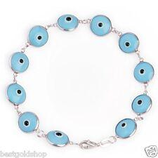 Solid Blue Turkish Nazar Evil Eye Good Luck Bracelet Real 925 Sterling Silver