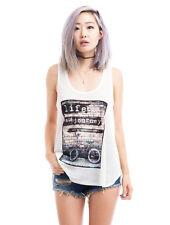 Women's Crew Neck Casual Sleeveless Graphic Tank Top Tee Shirt Loose Blouse