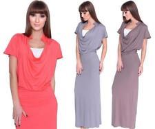 Maxi Kleid wasserfall Ausschnitt  mit Raffungen Gr. S M L XL, 8202