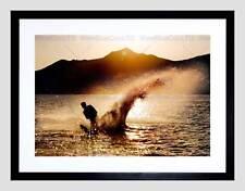 SPORT WATER SKIING SPRAY SILHOUETTE SUNSET BLACK FRAMED ART PRINT B12X13366