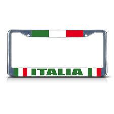 ITALIAN FLAG ITALIA Metal License Plate Frame Tag Border Two Holes