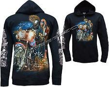 Grim Reaper Biker Lady Glow In The Dark Tattoo Zip Zipped Hoodie Hoody Jacket