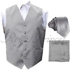 New Men Silver Gray Tuxedo Suit Vest Waistcoat and Neck tie Hanky Set Wedding