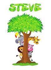 PERSONALIZED SAFARI ANIMALS TREE Decal Removable WALL STICKER Decor Art Nursery