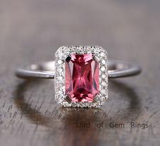 Pink Tourmaline Diamond Engagement Wedding Ring 14K White Gold Emerald Halo Ring