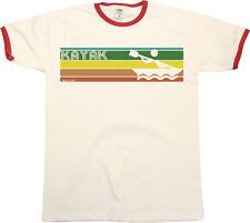 Retro KAYAK Strip Mens RINGER T-Shirt Kayaking Fashion Birthday Gift