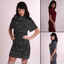 Ladies Womens Tunic Sweater Mini Dress Knitted Top Collar size UK 12 14