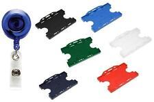 Retrattile ID Card Badge Ski REEL Clear Blue & Doppio Pass ID Card Badge Holder