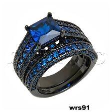 4.57Ct Princess Cut Blue Sapphire Black Rhodium Engagement Wedding Ring Set