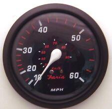 New Faria Red Professional 60 MPH Speedometer Boat Gauge Pitot Type Speedo