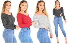 Nouveau Femmes Stripe Nervuré Off Épaule Bodysuit Collant Tops 36-50