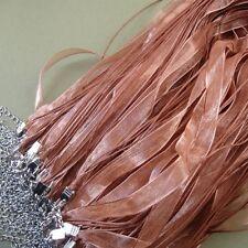 "Organza Silk Ribbon Necklace Rozy Brown 18""-10pcs."