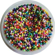 Acryl Perlen farbig bunt - 3 mm Mix Farben - Kugeln Basteln Resin Beads