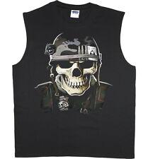 Men's sleeveless shirt US Army Navy Marines USMC skull tank top tee