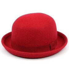 Chapeau Melon Derby Hawkins Feutre Laine Bleu Rose Rouge Bombin