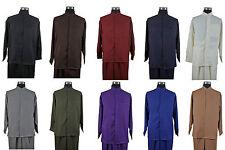 Men's 2pc Casual Shirt & Pants Set Mandarin/ Banded Collar Long Sleeve  #2826