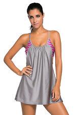 Ladies Fashion Grey Flowing Swim Dress Layered 1pc Tankini Top
