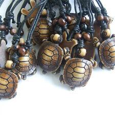 Lots 1/12pcs Imitate Yak Bone Brown Sea Turtle Charms Pendant Necklace