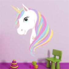 Unicorn Head Princess Girls Rainbow Wall Art Sticker Mural Decal Transfer P5O