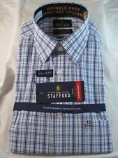 NWT STAFFORD Performance Stain Release DRESS SHIRT Reg. Fit, Blue Linear Plaid