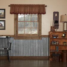 VHC Primitive Valance Burgundy Check Kitchen Curtains Rod Pocket Red Cotton