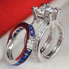 Womens Blue Sapphire Insert Bridal Wedding Engagement Ring Set 925 Silver