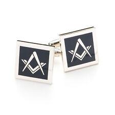 Modern Design Black & Silver Masonic Sq & Compass Cufflinks
