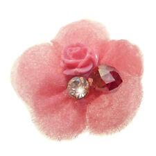 Bague ROSE vif Fleur perle & cristal réglable ajustable Taille 56 58 60 62 64 66