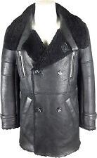 UNICORN Mens Real Sheepskin Winter Duffle Coat Real Leather Fur Jacket Black #GT