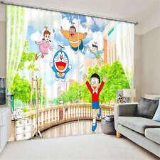 Doraemon Cartoo Balcony 3D Blockout Photo  Printing Curtains Draps Fabric Window