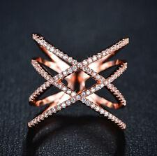 18k Rose Gold made w Swarovski Crystal Pave Stone Gorgeous Crisscross Index Ring
