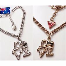 NWT Silver Gold Designer Woman Bracelet - Crystal LOVE Charm Guess Print GB35