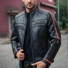 Men's Black Lambskin Jacket Cafe Racer Retro Slim fit Biker Real Leather Jacket
