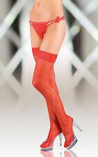 Softland: halterlose Strümpfe rot, edler Abschluss, zwei Silikon-Streifen, Gr. 5