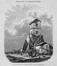 Stampa antica Campagna di ROMA Osteria 1867