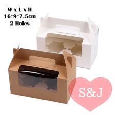 10x Cupcake Kraft Box 16x9x7.5cm Window Handle 2 Holes Holder White Brown Gable