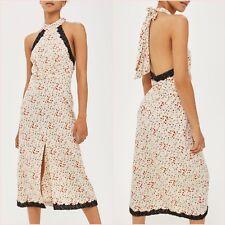 Topshop Cream Floral Lace Halter Slit Midi Dress Size UK 6 10 14 US 2 6 10 ❤