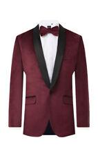 Dobell Mens Burgundy Tuxedo Dinner Jacket Regular Fit Velvet Contrast Lapel