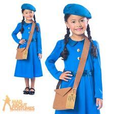 1940s Wartime School Girl Costume Kids WW2 Fancy Dress Book Day World War Outfit