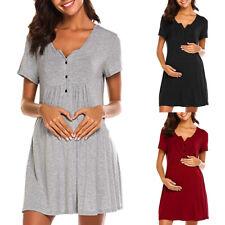 bae6463a80db7 Women Nursing Maternity Nightshirts Breastfeeding Short Sleeve Long Tunic  Dress