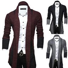 Men's Long Cardigan Sweatshirt Formal Business Casual Gentleman Sweater Coat Top