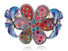 Colorful Enamel Drawn Spring Floral Flower Ribbon Bow Bracelet Bangle Cuff Band